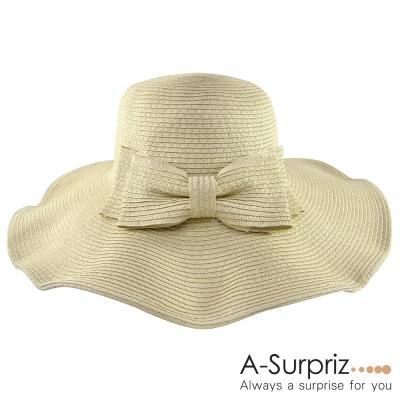 A-Surpriz 俏麗佳人蝴蝶結遮陽帽(卡其)
