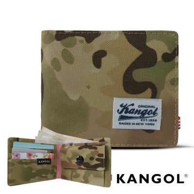 KANGOL 韓式潮流 多夾層/零錢袋橫式短皮夾+鑰匙圈禮盒-帆布迷彩軍綠