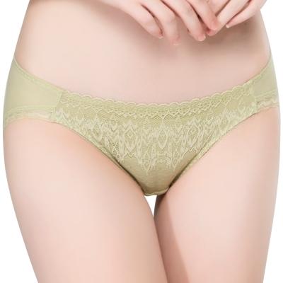 思薇爾 冰冰Bra系列M-XL蕾絲低腰三角內褲(草灰綠)