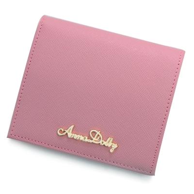 ANNA-DOLLY-清新粉嫩Superior真皮防刮短夾-Leather系列-清新粉