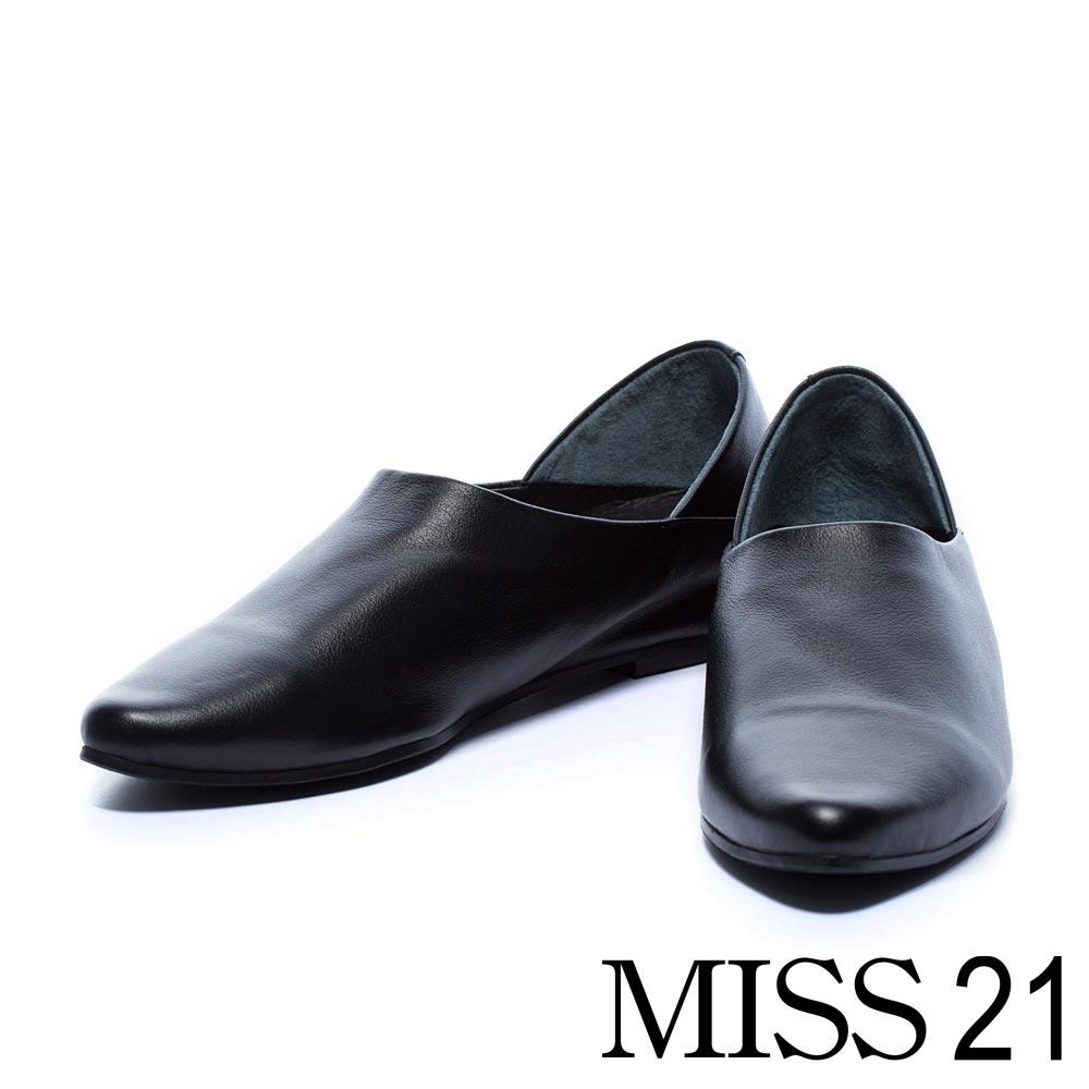 平底鞋 MISS 21 極簡主義尖頭牛皮平底鞋-黑