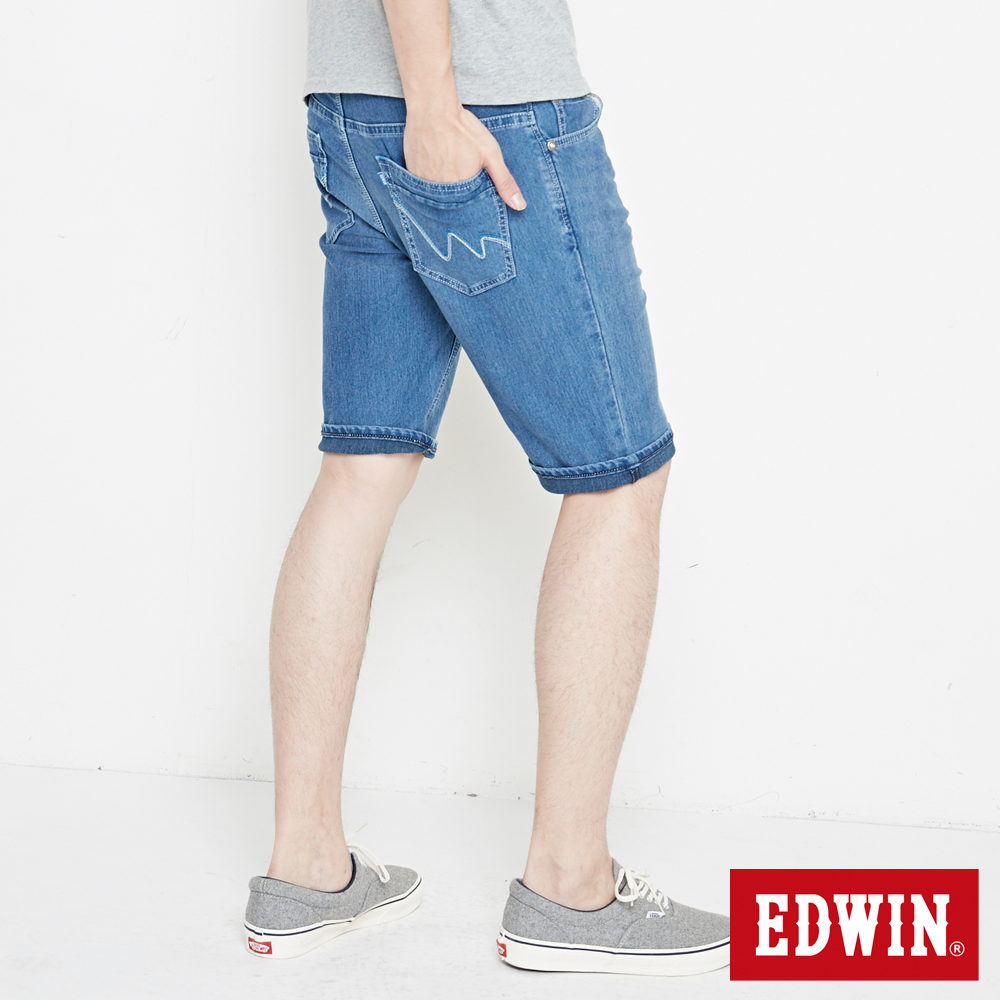 EDWIN 加大碼迦績褲 快乾合身短褲-男-石洗藍