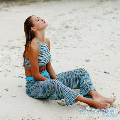 澳洲Sunseeker泳裝配品時尚幾何沙龍長褲-天藍