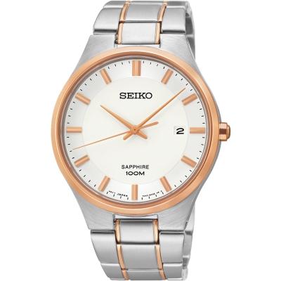 SEIKO 藍寶石水晶時尚腕錶(SEGH34P1)-銀x玫瑰金/40mm