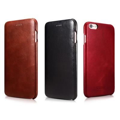ICARER 復古曲風 iPhone6S(4.7) 磁吸側掀手工真皮皮套