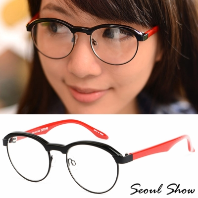 Seoul Show 復古小眉框 平光眼鏡 6762 黑X紅