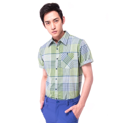 【hilltop山頂鳥】男款CoolTouch吸濕抗UV短袖襯衫S06M59綠格紋