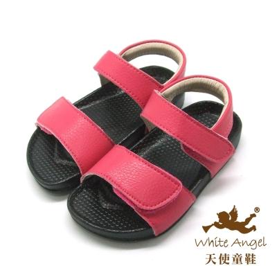 天使童鞋-F5033 簡約大象紋防水涼鞋 (小童)-桃