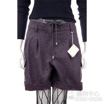 BRUNELLO CUCINELLI 灰紫色拼接抽繩設計短褲