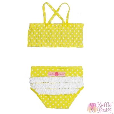 RuffleButts 小女童亮黃點點款平口比基尼泳衣