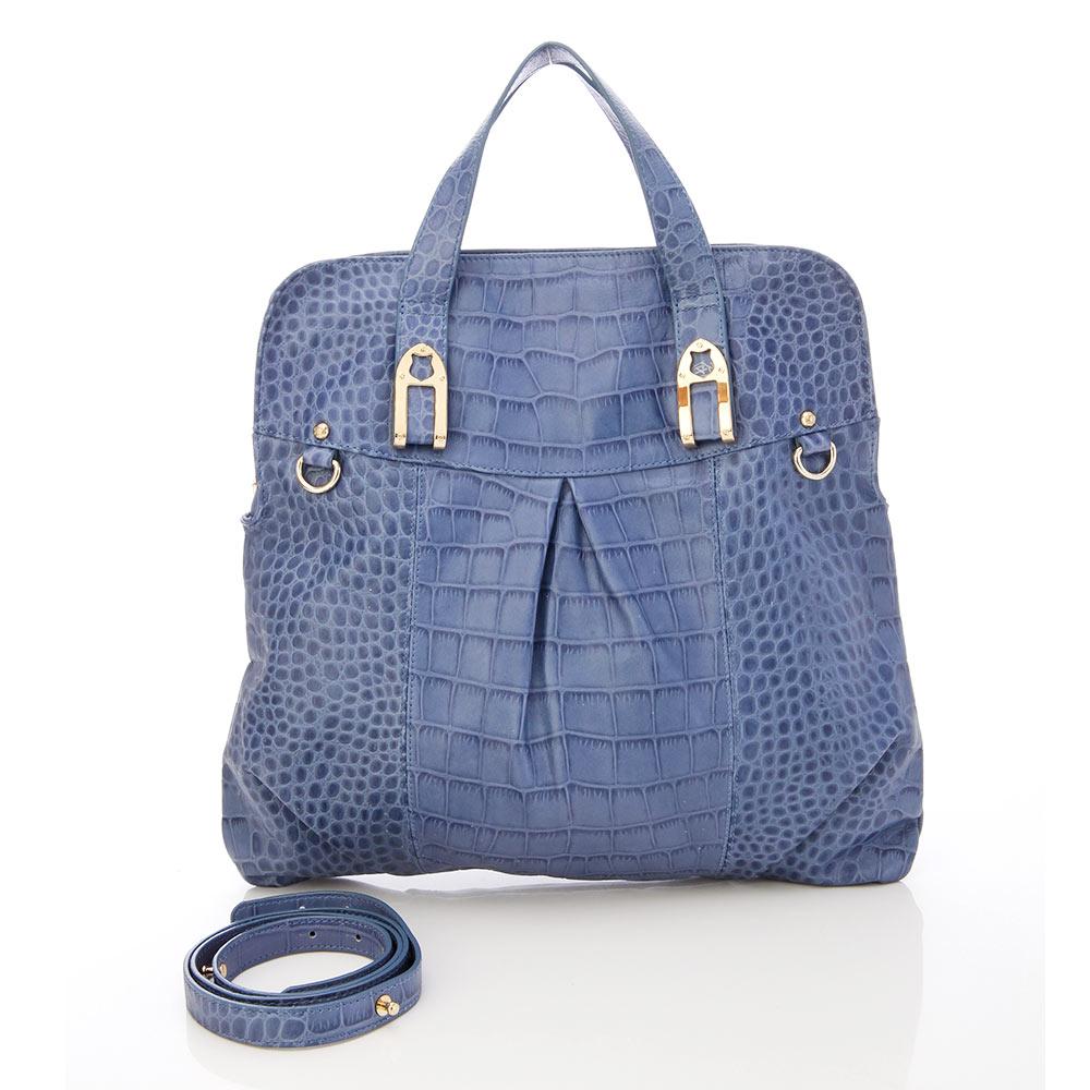 義大利BGilio - 個性時尚韻味牛皮壓鱷魚紋包-藍色1198.002A