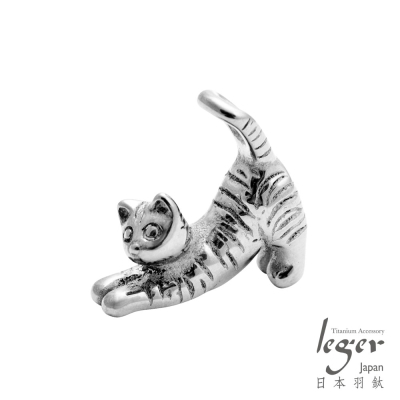 leger日本羽鈦《瑜珈貓》純鈦墜飾