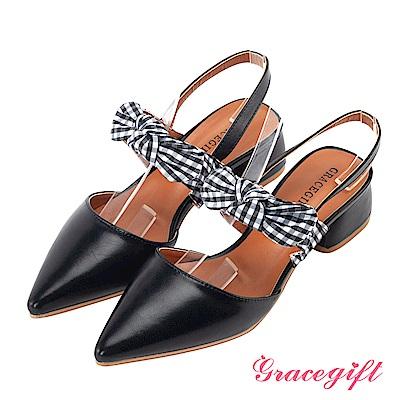 Grace gift-格紋綁結尖頭後條帶跟鞋 黑