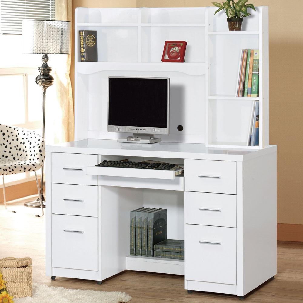品家居 學士4尺白色六抽電腦書桌組合(上+下)