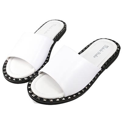 Robinlo Studio 個性鉚釘牛皮平底拖鞋 白色