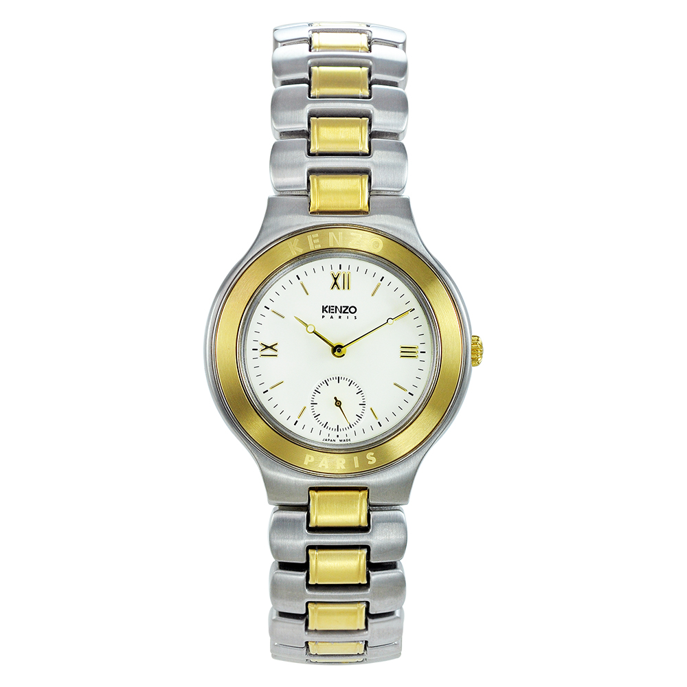 KENZO 經典知性時尚腕錶-米白色/34mm(福利品)