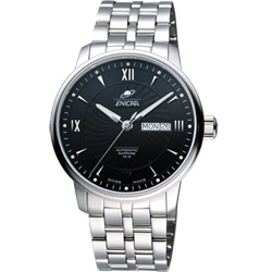 ENICAR 英納格 光輝時刻經典機械腕錶-黑/41mm