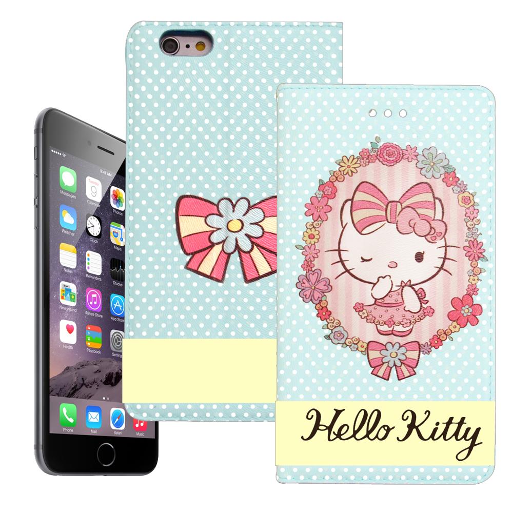 Hello Kitty iphone 6 6s彩繪磁力皮套水玉花邊