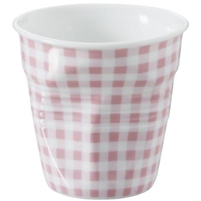 法國 REVOL FRO 粉紅格紋 陶瓷皺折杯 80cc