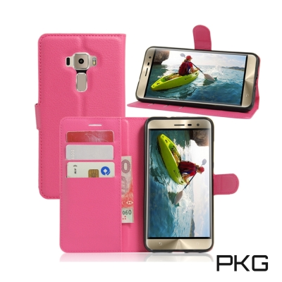 PKG ASUS Zenfone3 ZE552KL 側翻式皮套-經典皮套系列-紅