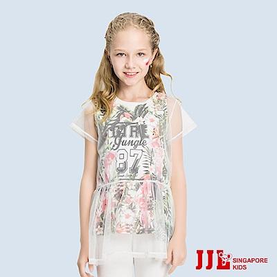 JJLKIDS 花漾甜心網紗假兩件長版上衣(白色)