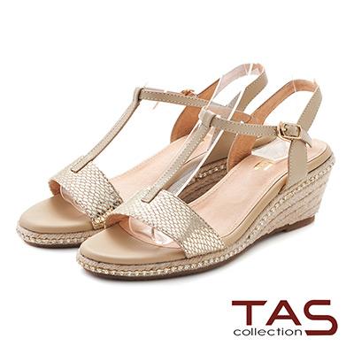 TAS 蛇紋T字繫帶麻繩楔型涼鞋~璀璨金