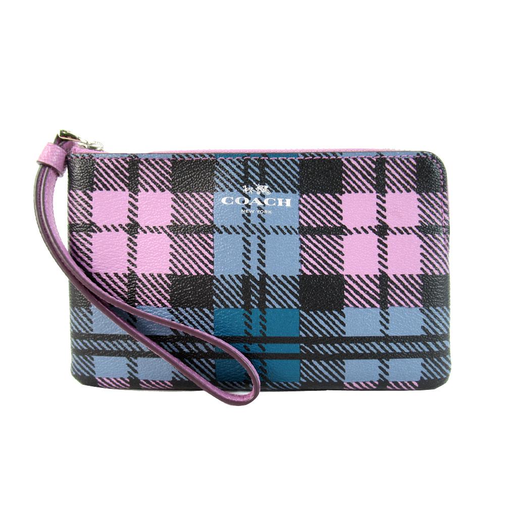 COACH 馬車英倫格紋學院風PVC L拉鍊手拿包(粉紫藍)COACH