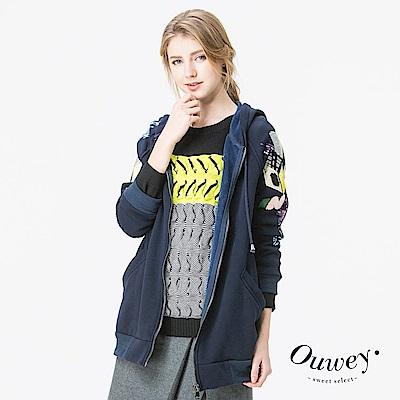 OUWEY歐薇-率性街頭塗鴉連帽外套-藍