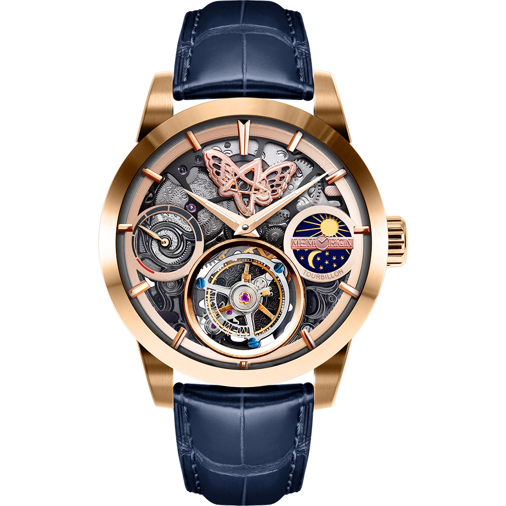 MEMORIGIN 萬希泉 Clara克拉拉系列陀飛輪腕錶-玫瑰金x藍/43mm