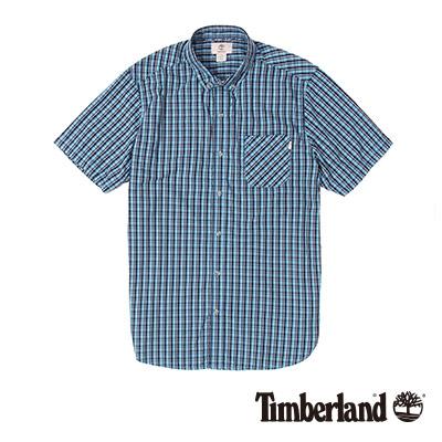 Timberland-男款藍黑色細格紋府綢短袖襯衫