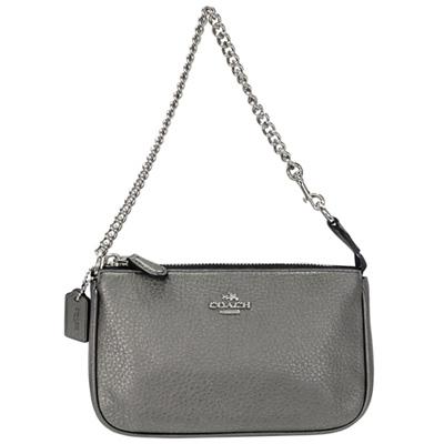 COACH銀灰色荔枝紋全皮金屬鍊帶手提掛小包