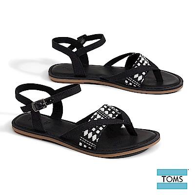 TOMS 黑白幾何圖騰夾腳涼鞋-女款