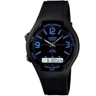 CASIO 酷炫經典指針雙顯錶-黑/藍時標(AW-90H-2B)/39mm