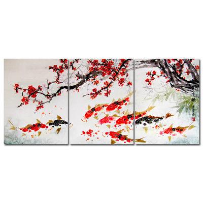 橙品油畫布-三聯無框圖畫藝術家飾品-年年有餘30-40cm