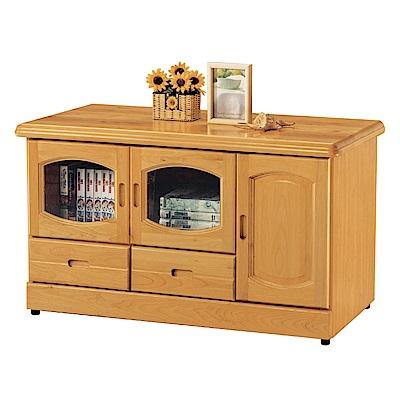品家居 瑪爾3.9尺赤楊木實木長櫃/電視櫃-116x50x64cm免組