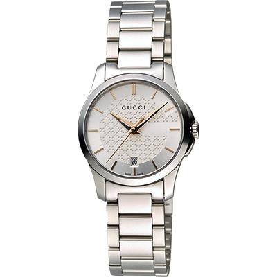 GUCCI G-Timeless 古馳菱格紋時尚腕錶-銀/27mm