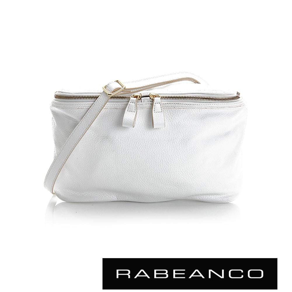 RABEANCO 迷時尚系列荔枝紋牛皮立體三角包 - 白