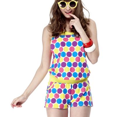沙兒斯 粉彩圓圈外衣三件式比基尼泳裝