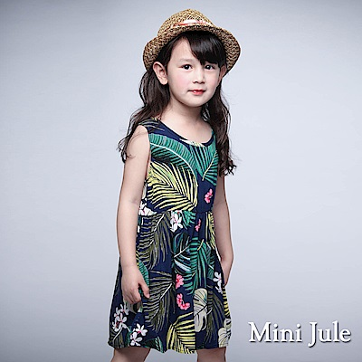 Mini Jule 童裝-洋裝 熱帶花草縮腰背心洋裝(深藍)