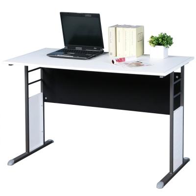 Homelike 巧思辦公桌 炫灰系列-白色仿馬鞍皮120cm