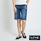 EDWIN 江戶勝櫻花短褲-女-石洗藍