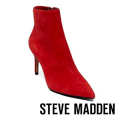 STEVE MADDEN-LOGIC 尖頭細跟拉鍊短靴-紅色