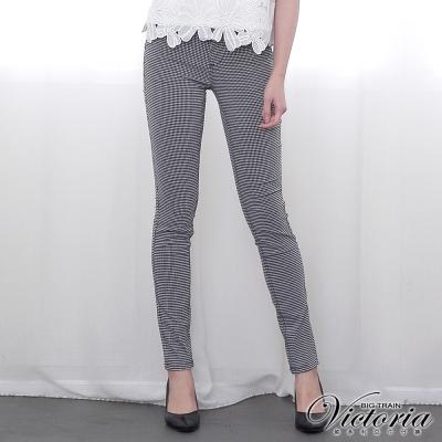 Victoria 低腰彈性格紋窄管褲-女-黑白格