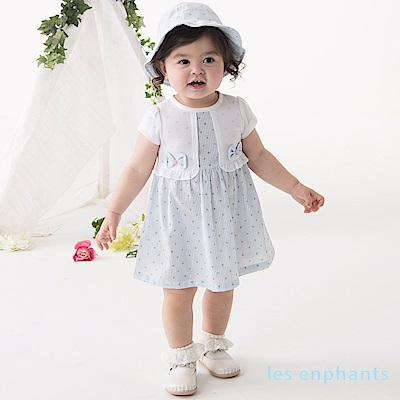les enphants baby 清新夏日小花假二式洋裝 淺藍