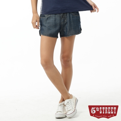 5th STREET 短褲 取線繡花牛仔短褲-女-酵洗藍