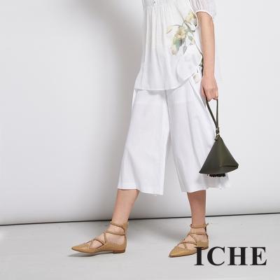 ICHE-衣哲-藝術風文藝感印花百搭造型寬褲