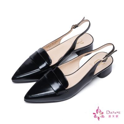 達芙妮x高圓圓-圓漾系列紳士剪裁後拉帶尖頭粗跟鞋-魅力黑