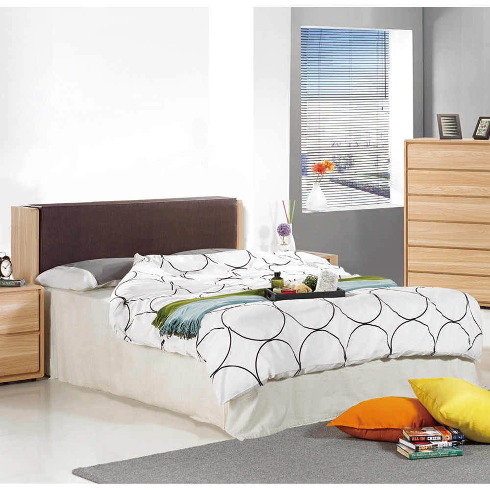 AT HOME-文森5尺橡木紋被櫥雙人床組-三件組(床頭箱+床底+床墊)