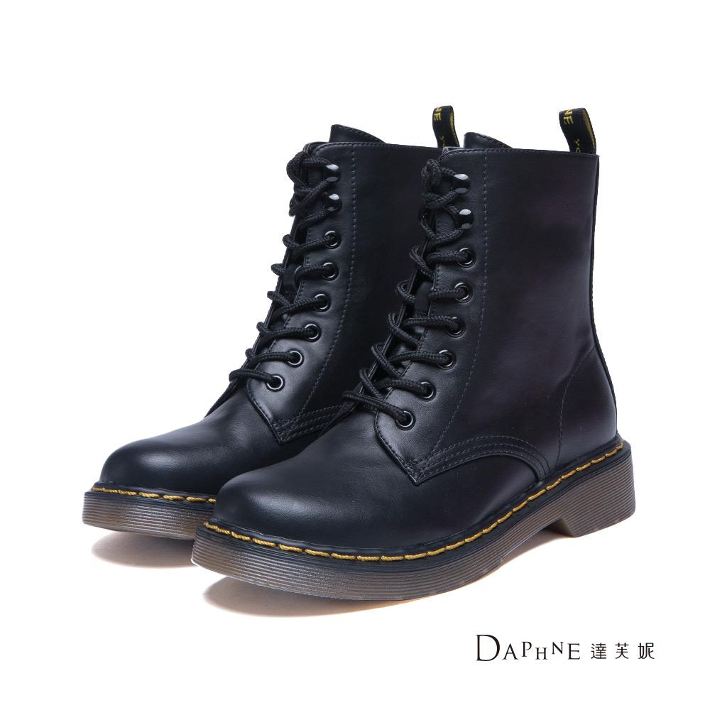 達芙妮DAPHNE 短靴-經典綁帶高筒工程短靴-黑8H