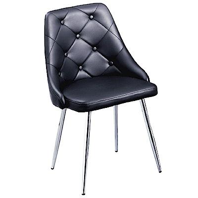 AS-伊登黑色皮面餐椅-45x43x83cm